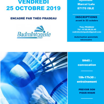 Stage de badminton à Isle (25 & 26 octobre)