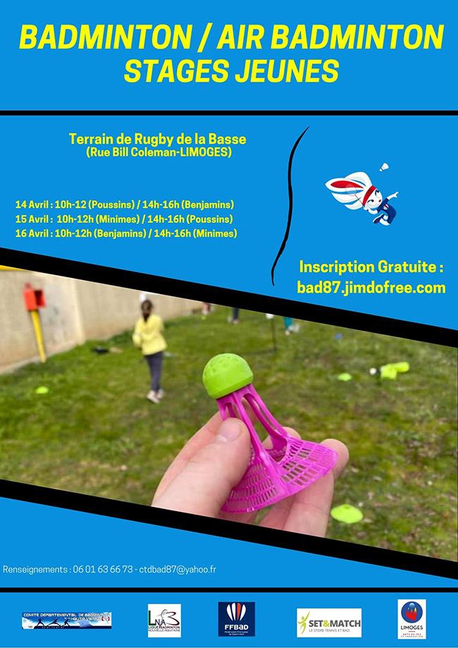 Stages départementaux jeunes Avril – Air Badminton